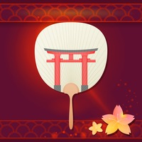 Japanese fan with temple gate