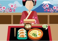 Japanese woman with japanese cuisine
