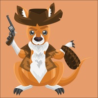Kangaroo as a cowboy on peach background