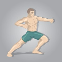 Kickboxing player in pose