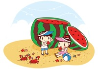 Kids eating giant watermelon on beach