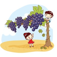 Kids plucking giant grapes