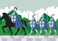 Knights following their commander