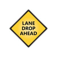 Lane drop ahead sign