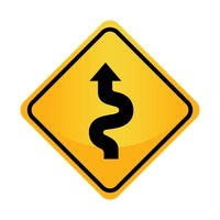 Left-sided winding road sign