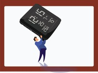 Man lifting a digital clock