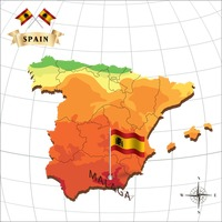 Map of spain with malaga