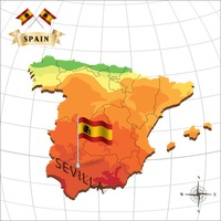 Map of spain with sevilla