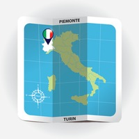 Map pointer indicating piemonte on italy map