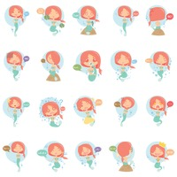 Mermaid emoticon set