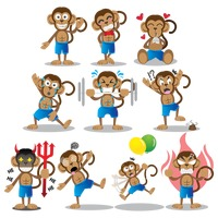 Monkey with different actions