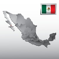 Navigation pointer indicating baja california sur on mexico map