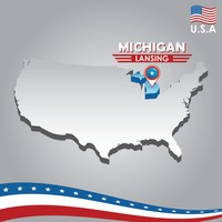 Navigation pointer indicating michigan on usa map