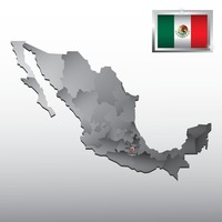 Navigation pointer indicating puebla on mexico map