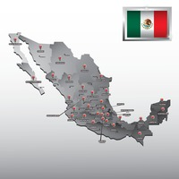 Navigation pointer indicating states on mexico map