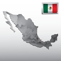 Navigation pointer indicating veracruz on mexico map