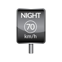 Night speed limit 70 signboard