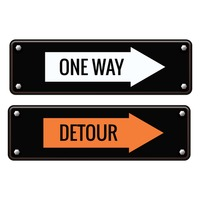 One way and detour road signs