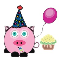 Pig with party hat, balloon and cupcake