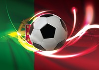 Portugal flag with soccer ball