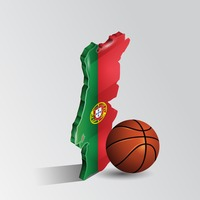 Portugal map with basketball
