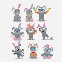 Rabbit character with different actions