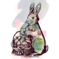 Rabbit holding basket of easter eggs