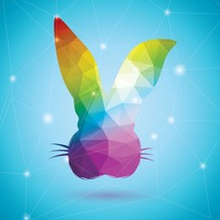 Rabbit in rainbow colors
