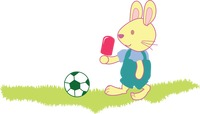 Rabbit with an ice cream playing football