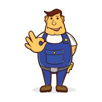 Repairman with ok hand sign