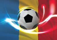 Romania flag with soccer ball