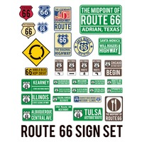 Route sixty-six sign set
