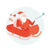 Santaclaus taking a selfie through monopod