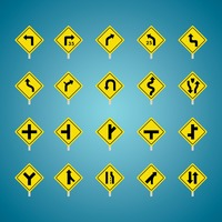 Set of american road sign icons