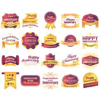 Set of anniversary labels