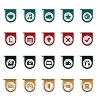 Set of bookmark clip icons