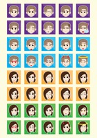 Set of boy and girl emoticon icons