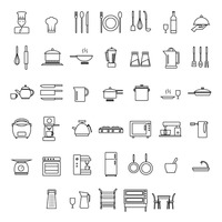Set of chef and home appliance icons