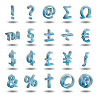 Set of currency and character symbols