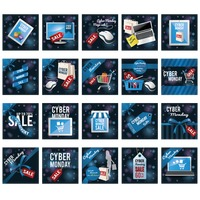Set of cyber monday sale icons