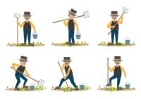 Set of farmers with pitchfork