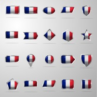 Set of france flag buttons
