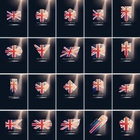 Set of great britain flag icons