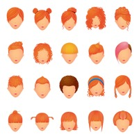 Set of hair icons