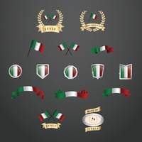 Set of italy flag icons