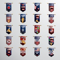 Set of labor day hanging pennants