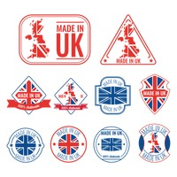 Set of made in uk labels