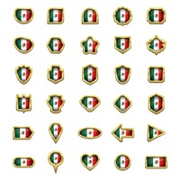 Set of mexico flag icons