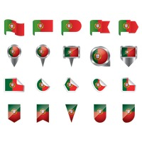Set of portugal flag icons