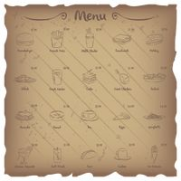Set of restaurant menu